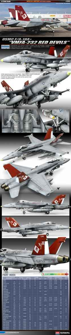 "Academy 1/32 USMC F/A-18A+ Hornet ""VMFA-232 Red Devils"""