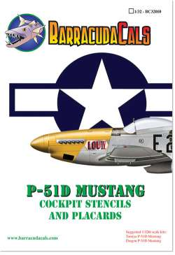 BarracudaCals 1/32 P-51D Mustang Cockpit Stencils and Placards