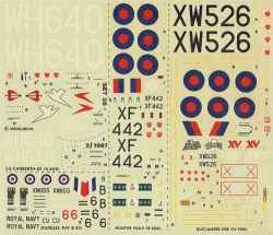 Modeldecal 1/72 Hunter, Buccaneer, Canberra, Gazelle